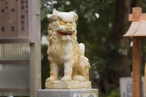 青木神社の境内に佇む狛犬