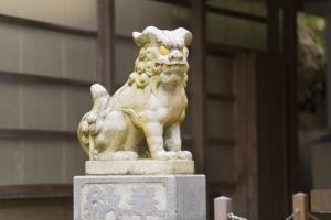 青木神社の境内に佇む狛犬2